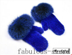 Very warm knit suede fur gloves fox fur gloves a choice of 12 colors $98.00