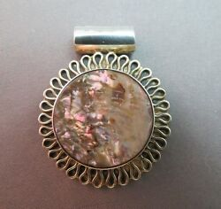 Abalone Pendant 925 Sterling Silver Mexico MWS Jewelry 1.5