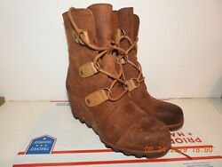 AUTHENTIC SOREL JOAN THE ARCTIC II Wedge Boot Waterproof Brown Leather Size 10 E