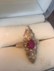 ANTIQUE GOLD RING WITH RUBY AND DIAMOND - BEAUTIFUL AND RARE