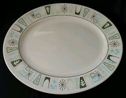 VTG TAYLOR SMITH amp; TAYLOR CATHAY OVAL SERVING PLATTER 13quot; ATOMIC GEOMETRIC $22.74