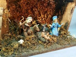 Vintage Wooden Christmas Nativity Scene Italy Made Holliday Manger Decorations