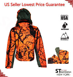 Orange Camo Men#x27;s Hunting Jacket Winter Blazer Lined Hiking Coat Hood Removable