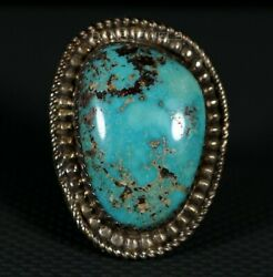 Gorgeous Traditional Old Pawn Navajo Turquoise Vintage Sterling Ring SZ 10