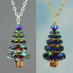 Rainbow Christmas Tree Pendant Necklace Chain Women Girls Cute Xmas Jewelry Gift