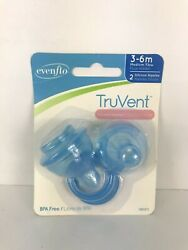 Evenflo 2 Pack TruVent Nipple and Washer Ring Silicone MEDIUM Flow 3 6 Months $4.99