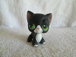 Littlest Pet Shop LPS Black Angora Cat With Green Eyes - 2004