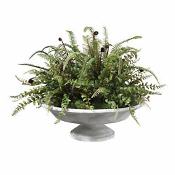 Contemporary Rustic Concrete Fern Urn Oval Centerpiece Faux Floral $627.00