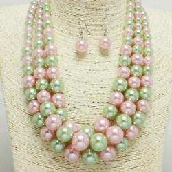 3 strand Multi Layer Pink and Green Pearl Fashion Necklace with Earrings AKA