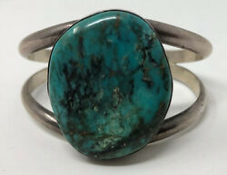 Gorgeous Vintage Native American Turquoise Stone Sterling Silver Cuff Bracelet