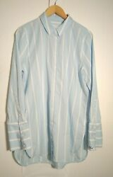 Equipment Femme Women's LS Shirt Top Size L Large Blue White Stripe Cotton EUC