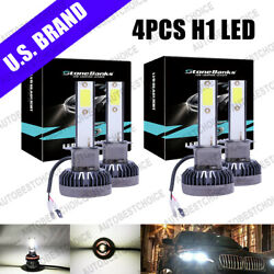 Combo H1 + H1 4Pcs 100W COB LED Headlight Kits High & Low Beam Bulbs 6000K White