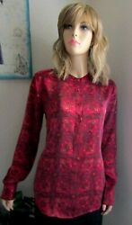 EQUIPMENT LADIES BUTTON FRONT REDFUCHSAI SILK BLOUSE TOP SIZE MEDIUM B40W38L30