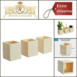 Wooden Pen Pencil Holder Cups Office Desk DIY Craft Mesh Organizer Container New