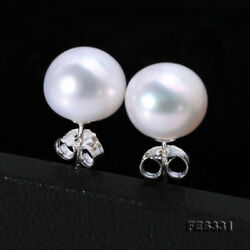 Real 9mm White Freshwater Pearl Studs Earrings 925 Sterling Silver for Women