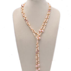Real 7-8mm Natural Pink Flat Freshwater Pearl with Seashell Pearl Beads Necklace