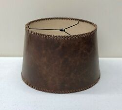NEW Pottery Barn Leather Stitched Tapered Drum SMALL Lamp Shade 2-Available