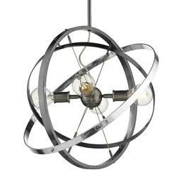 Golden Lighting Atom 4 Light Chandelier Steel Steel Chrome 7936 4BS BS CH $204.99