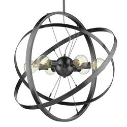 Golden Lighting Atom 6 Light Chandelier Steel Steel Steel 7936 6BS BS BS $254.99