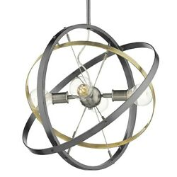 Golden Lighting Atom 4 Light Chandelier Steel Brass Steel 7936 4BS AB BS $204.99