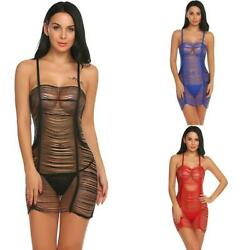 Women Sexy Lingerie Babydoll Draped Fringed Sheer Nightwear with EH7E
