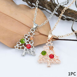 Women Crystal Charm Pendant Necklace Christmas Tree Snowman Gifts Home Girls