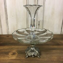 Large Antique Glass Silverplate Epergne Centerpiece Unmarked Vintage 2 Tier $179.95