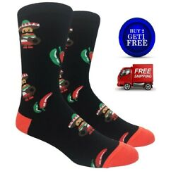 SPICY CHILI PEPPER Novelty Mens Socks Black Red Fine Fit NWT $9.99