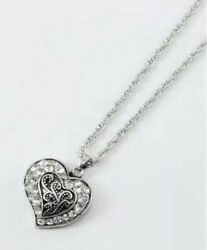 BRIGHTON BEACH FILIGREE HEART NECKLACE WITH CRYSTAL ACCENTS