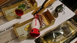 Bunch Of Vintage Arbogast   Lures- Hula Poppers W Boxes Dancer Mud Bug