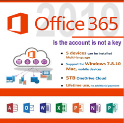 Onedrive 5TB Lifetime Account + Microsoft Office 365 5 Device PCMAC
