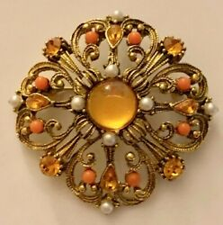 Vintage Gold Tone Faux Pearl Amber Rhinestone Flower Cluster Brooch Pin Jewelry