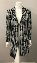 St. John Boutiques Black White Checked Long Sweater Coat With Pockets Size 4