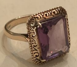 Dreamy! Fabulous 5+ct Amethyst Vntg Cocktail Ring 14K Gold Filigree Setting 💜