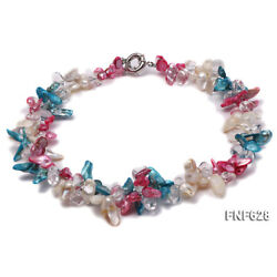 NEW 2-strand 8x12mm Multi-color Freshwater Pearl White Baroque Crystal Necklace