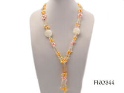 7x10mm Pink and Yellow Oval Freshwater Pearl Crystal  Jade Stone Necklace 27