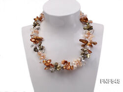 3-strand Pink Dark-green Coffee Freshwater Pearl White Crystal Beads Necklace