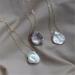 14-15mm White Baroque Pearl Necklace 18 inches Wedding Hang Jewelry