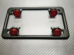 BLACK MOTORCYCLE License Plate Frame amp; 4 Red Reflectors Chris Product HARLEY $9.99