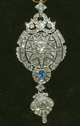 ART DECO PLATINUM DIAMOND & BLUE SAPPHIRE PENDANT 3CT OF DIAMONDS CERTIFICATE