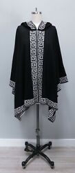 SOL Black White 100% Peruvian Baby Alpaca Hooded Cape Sweater Poncho One Size OS