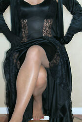 Black Sexy long nylon lacy nightgown lacy sheer sides sweep 106