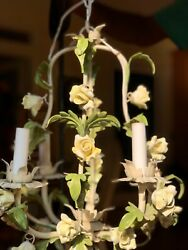 VINTAGE ITALIAN MIDCENTURY TOLE CHANDELIER YELLOW PORCELAIN ROSES METAL TAGS $180.00
