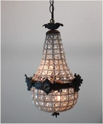 Crystal Chandelier Antique Style with Victorian Faces Aged Brass 18 inch Tall $306.90