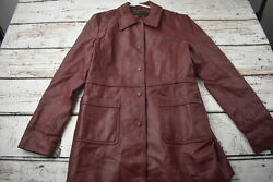Reaction Kenneth Cole Red 100% Leather Jacket Womens Size L