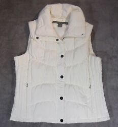 NEW Kenneth Cole Reaction Off-WhiteIvoryCream Goose Down Puffer Vest Women's L