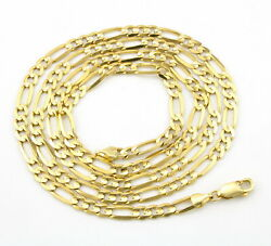 10K Yellow Gold Solid 11.3mm Figaro 3+1Concave Chain Bracelet Lobster Clasp 8.5