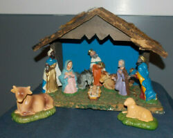 VINTAGE NATIVITY SCENEWOODEN CRECHE MADE IN ITALY! 2 EXTRA ANIMALS8