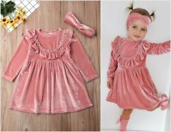 NEW Pink Velour Girls Long Sleeve Ruffle Dress 2T 3T 4T 5T $10.99