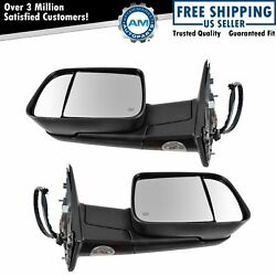 Tow Mirror Power Folding Heated Signal Memory Puddle Light Black Pair for Ram $382.39